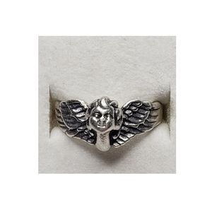 Vintage 925 Silver Angel Cherub Ring